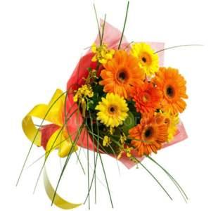 bouquet con gerbere arancio e gialle