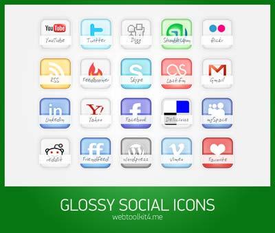 Iconos sociales estilo glossy