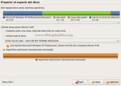 Proceso de particionado de discos en la instalación de Ubuntu