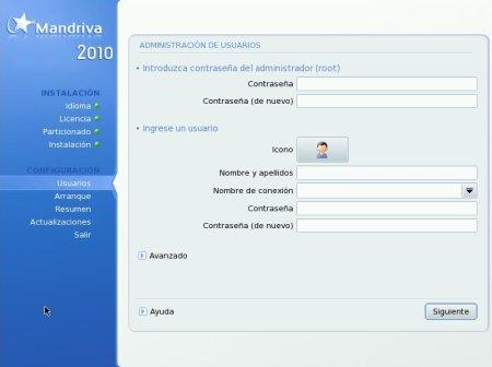 Mandriva Free - configuracion de usuarios
