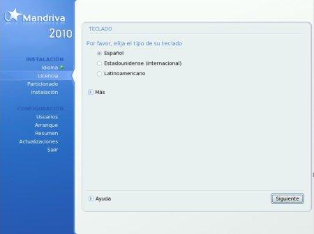 Mandriva Free - seleccion del idioma del teclado