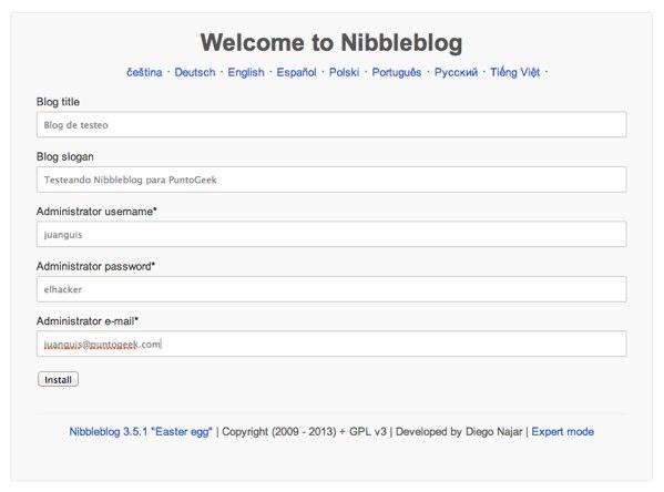 Nibbleblog Installer