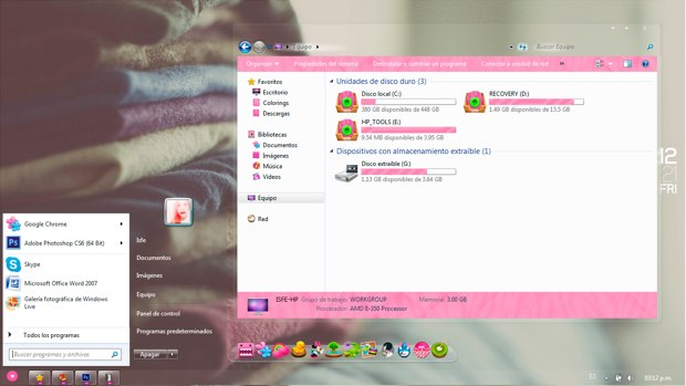 Theme for windows 7 Kaws Seven Max Clear (Pink)