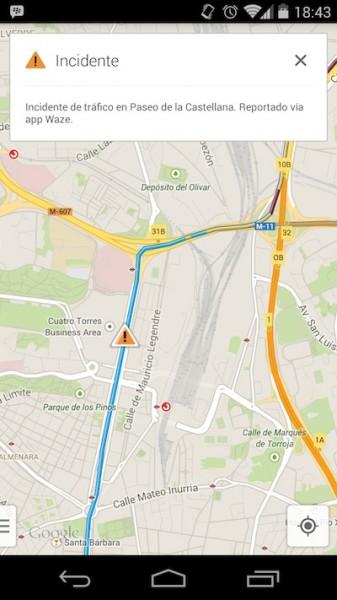 Avisos de Waze en Google Maps