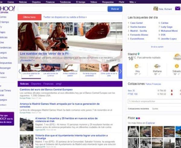 Nueva portada de Yahoo