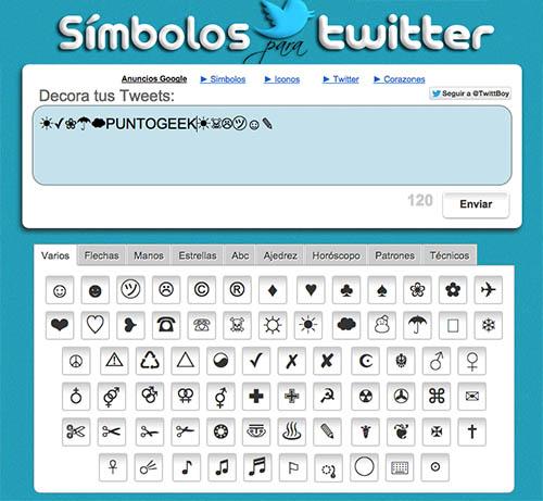 simbolos para twitter