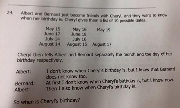 problema cumpleaños de cheryl