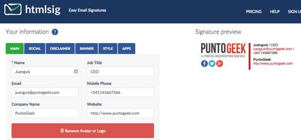 Email HTML Signature Generator