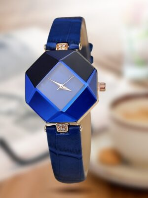 Gem Cut Geometry Crystal Leather Quartz Women Watch
