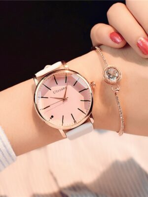 Diagonal design leather  luxury women watch quartz pink watch
