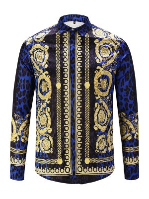 Royles! Men's Leopard styled Floral Long Sleeve Shirt