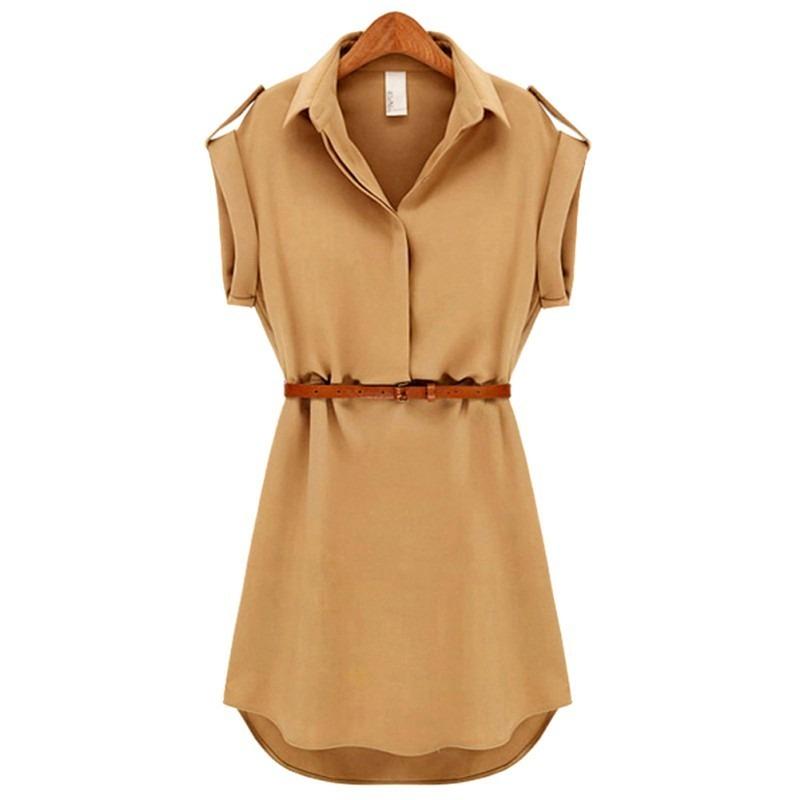Plain Summer Mini Dress With Belt 1