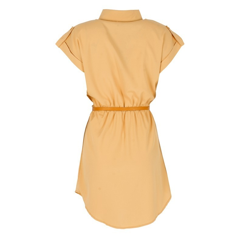 Plain Summer Mini Dress With Belt 2