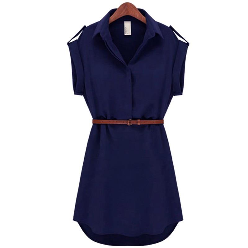 Plain Summer Mini Dress With Belt 5
