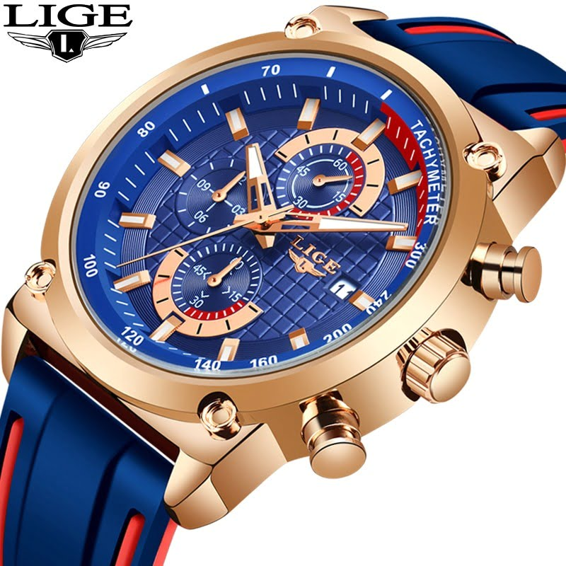 LIGE Silicone Waterproof Quartz Gold Men Watch  5