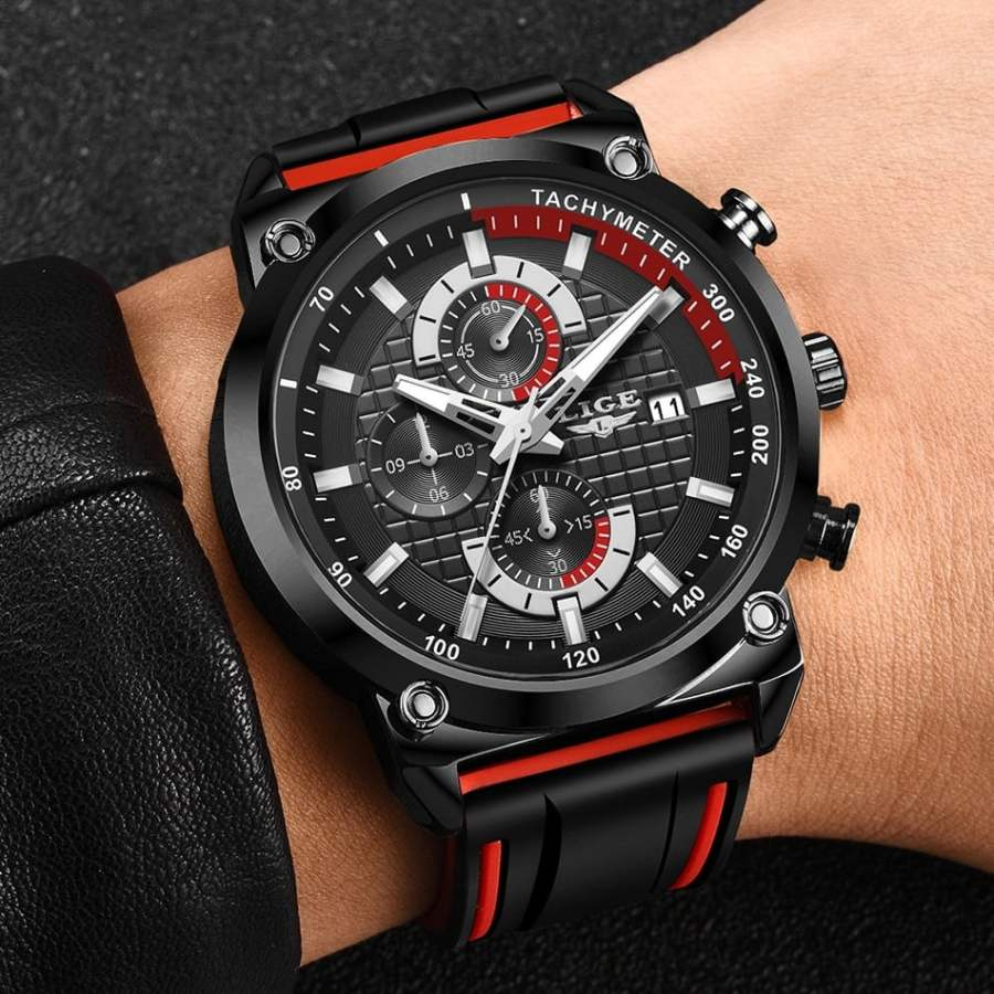 LIGE Silicone Waterproof Quartz Gold Men Watch 11