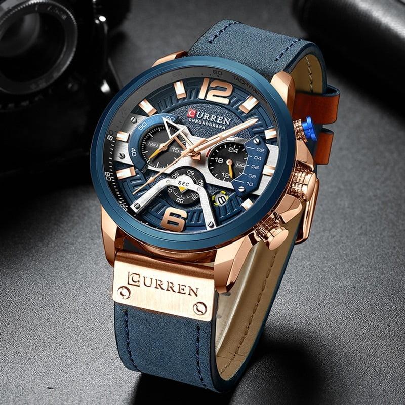 CURREN Blue Chronograph Men Watches  2