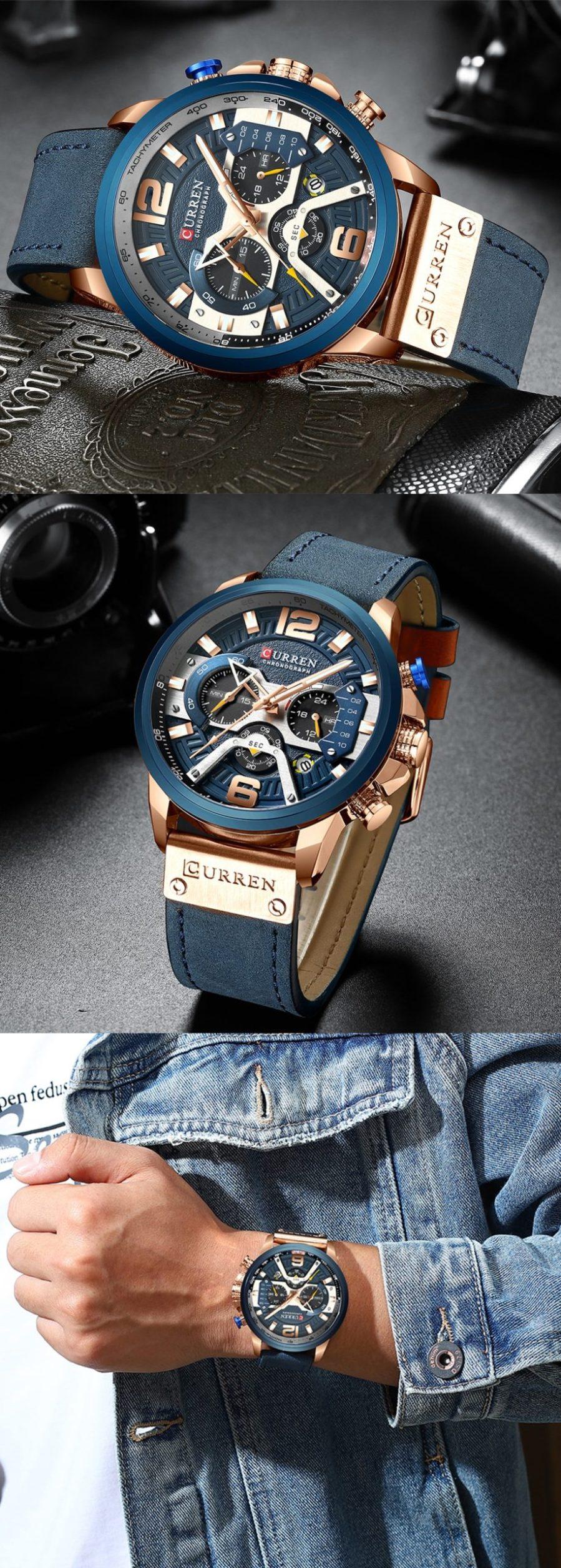 CURREN Blue Chronograph Men Watches 6