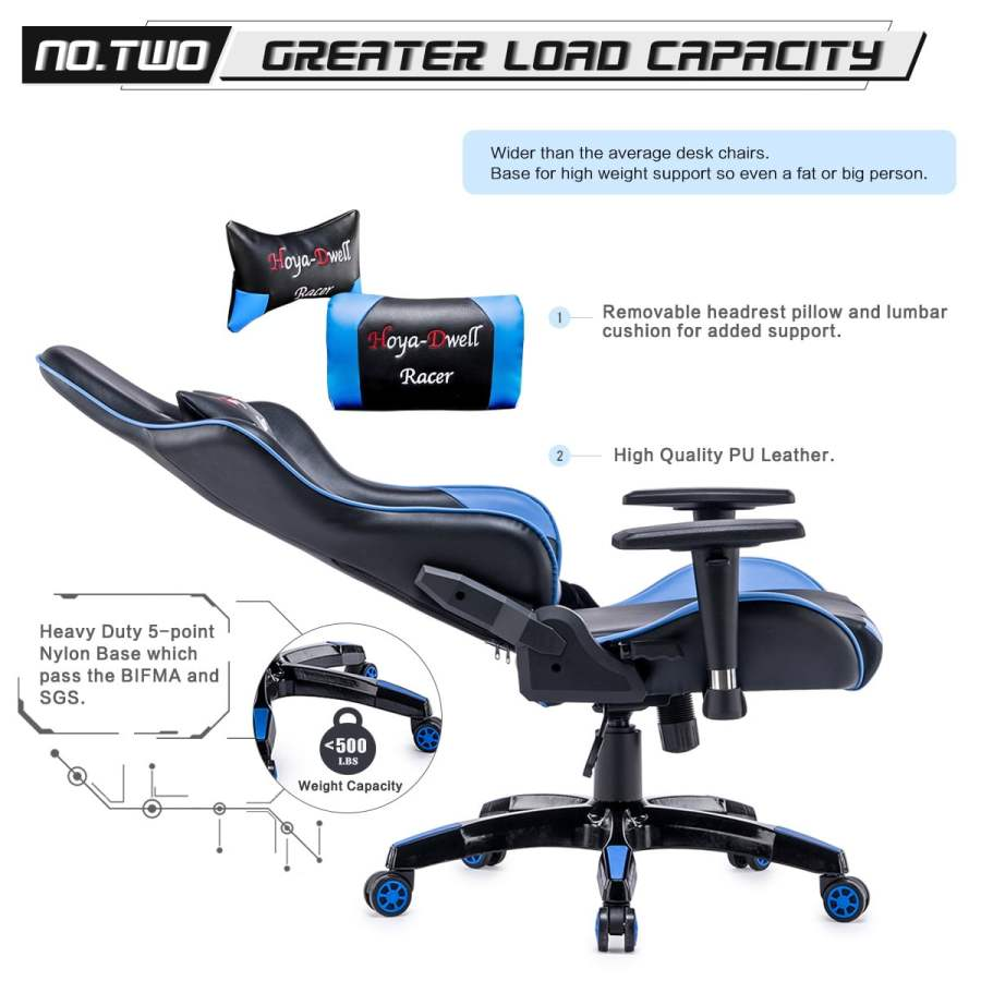 High Back Racing themed Reclining Ergonomic Adjustable Chair with Headrest 27