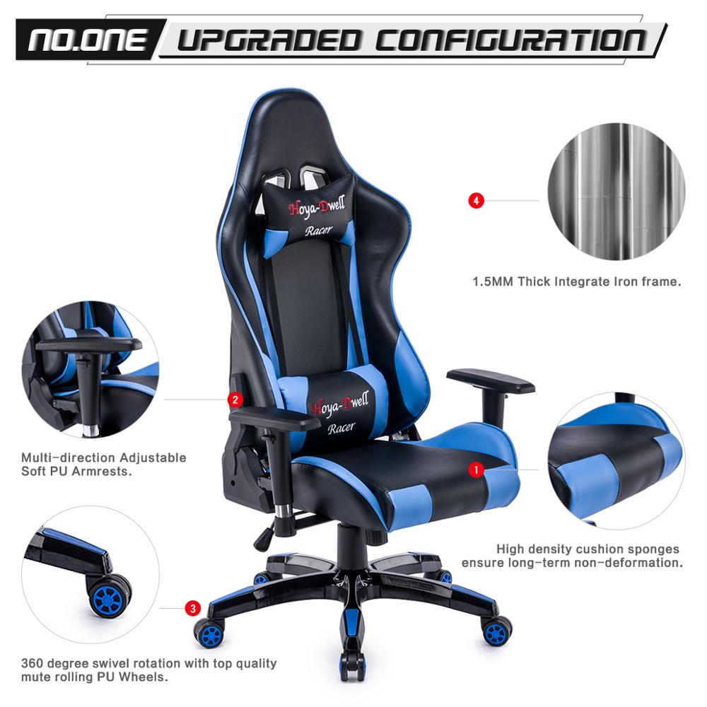 High Back Racing themed Reclining Ergonomic Adjustable Chair with Headrest 3