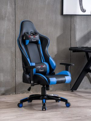 High Back Racing themed Reclining Ergonomic Adjustable Chair with Headrest