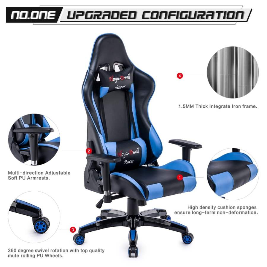 High Back Racing themed Reclining Ergonomic Adjustable Chair with Headrest 26