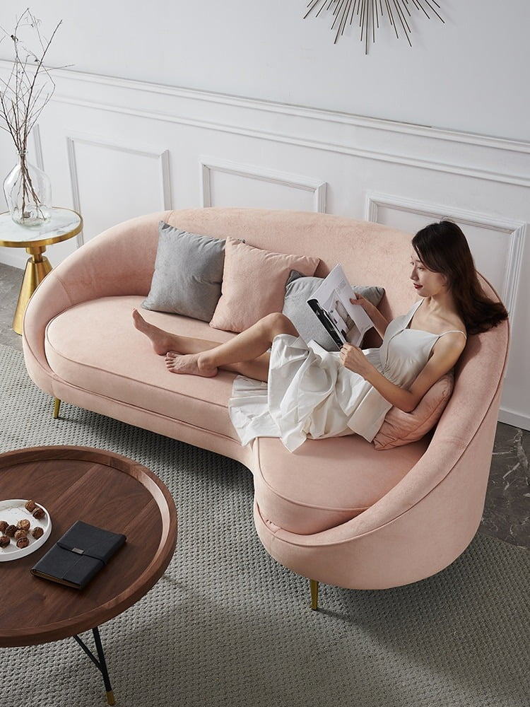 Modern Pink Fabric Sectional Living Room Chair 1
