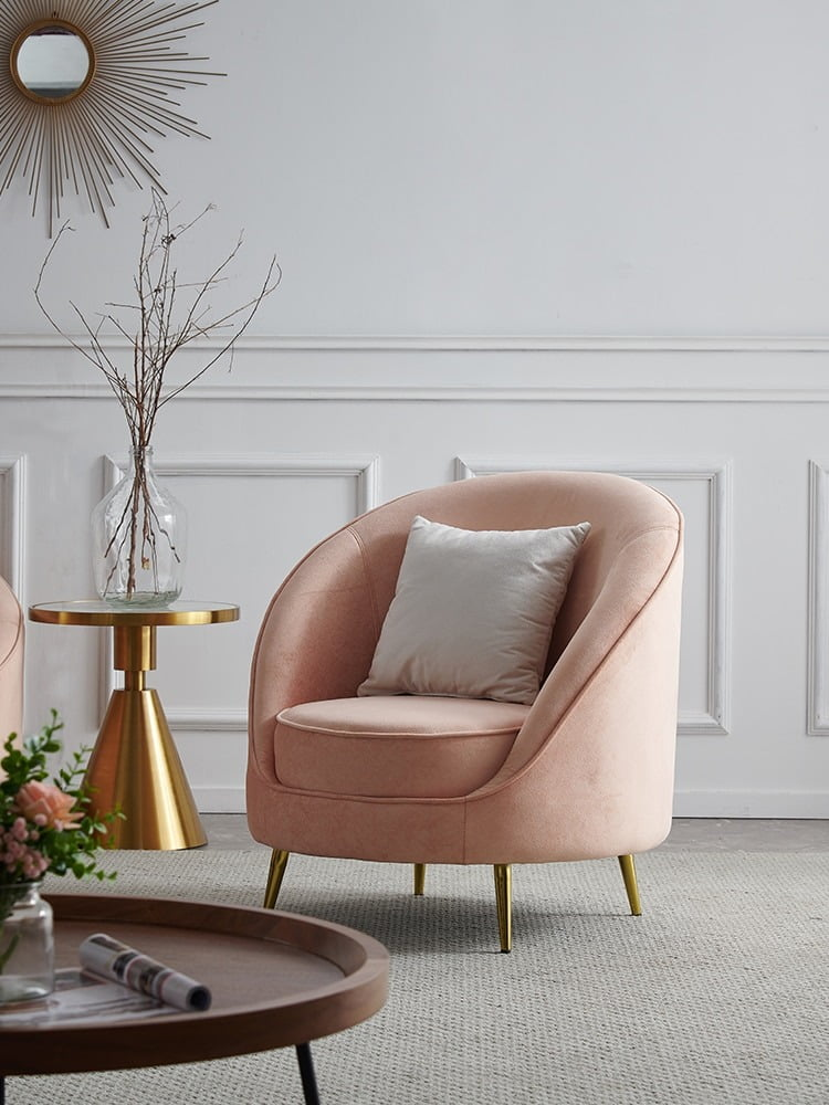 Modern Pink Fabric Sectional Living Room Chair 3