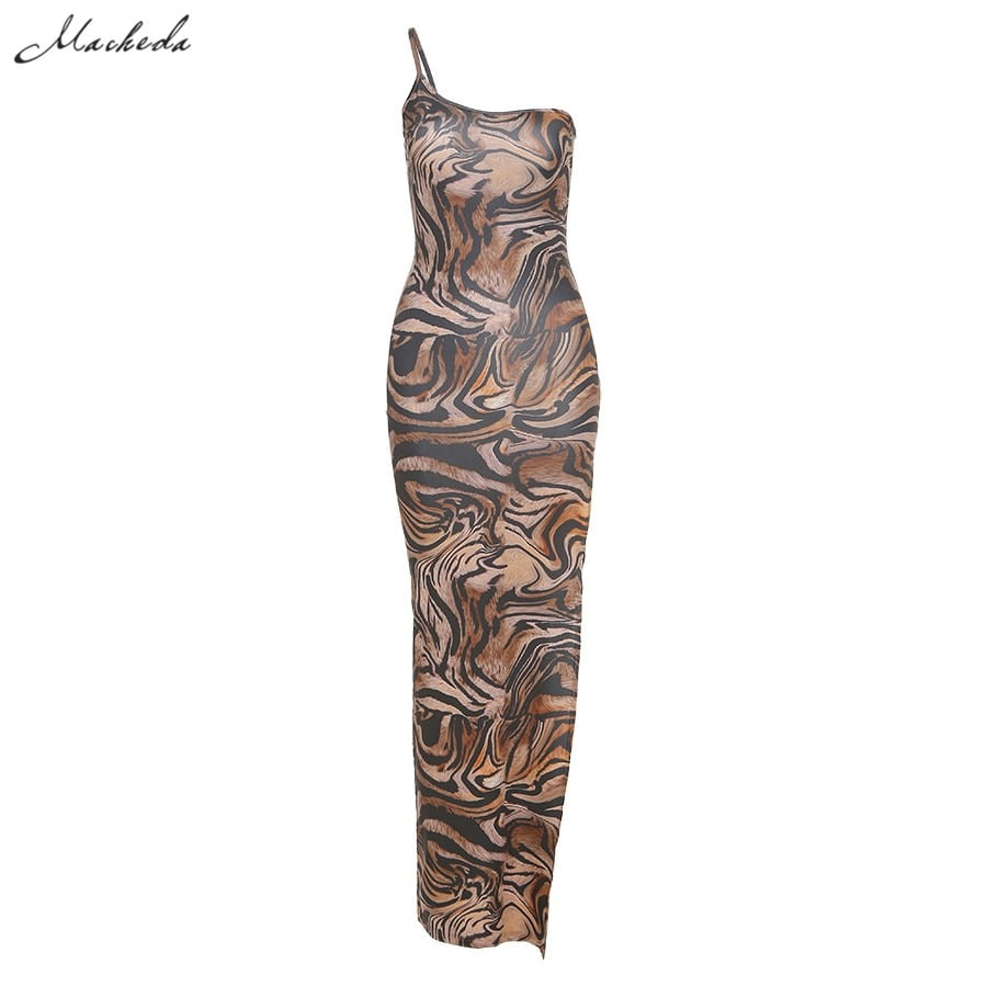 Female One-Shoulder Sling Bodycon Sleveless Split Long Dress  6