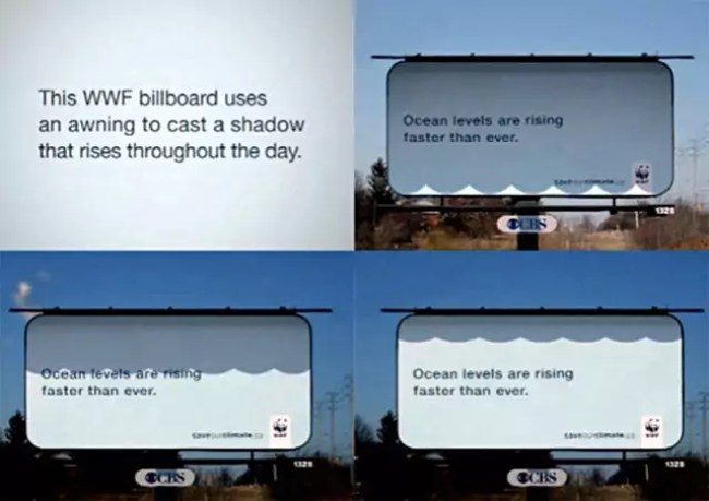 WWF billboard that uses shadows to communicate its message