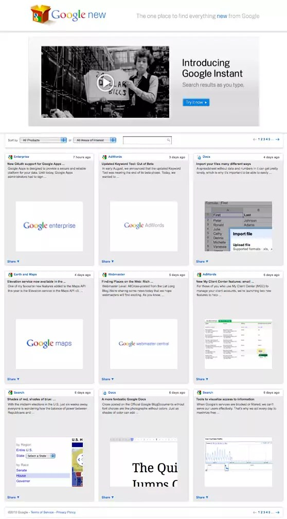Google's 'new product' release rate is dizzying to me, here's Google's all-in-one what's new page…
