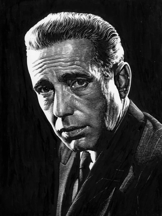 Leib Chigrin – Scratchboard Art – Humphrey Bogart