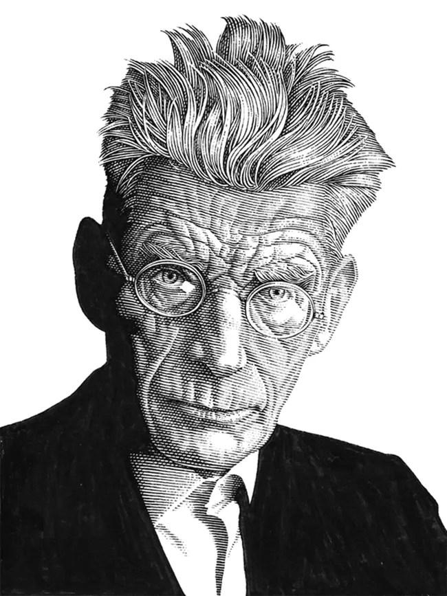 Leib Chigrin – Scratchboard Art – Samuel Beckett
