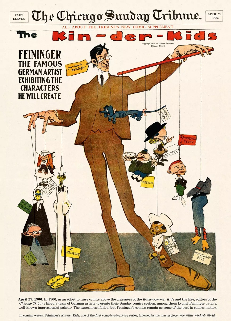 Chicago Sunday Tribune cover illustration depicting Lyonel Feininger as a puppeteer with his Kin-Der Kids creations attached by strings.