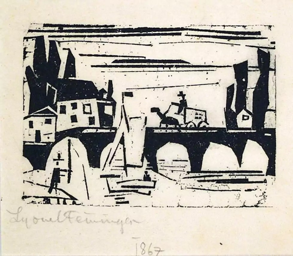 "Wagon Crossing a Bridge, 1941. Cubist style Woodcut 3.5""x 4.75"""
