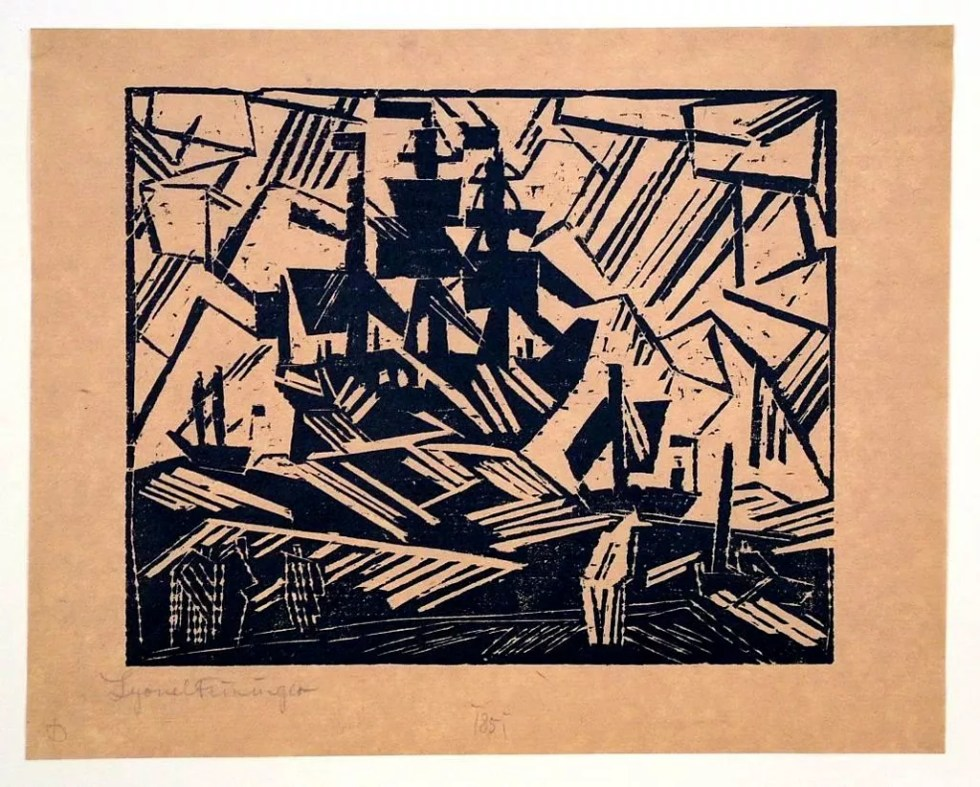 "Ship at Sea or Marine | 1918 | Woodcut 7""x 85"""