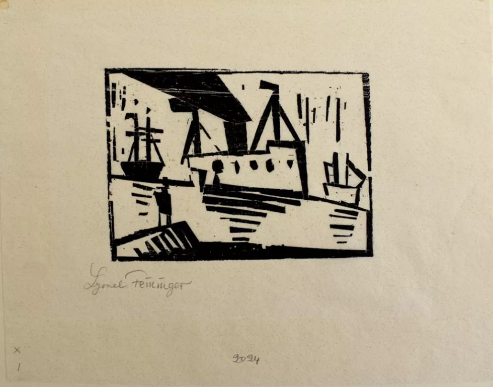 "Ships with Man on a Pier | 1920 | Woodcut 6.5""x 8.25"""