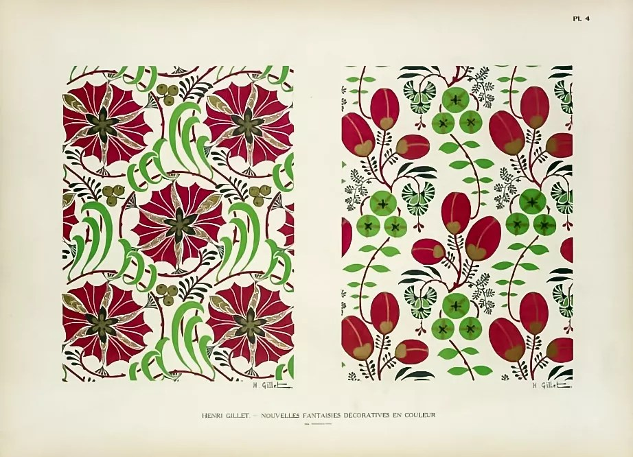 Plate 4: Flowers and Leaves  |  Henri Gillet  c.1900