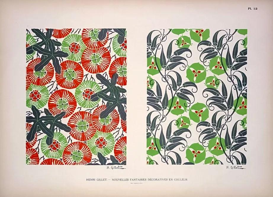 Plate 12:  |  Floral  |  Henri Gillet  c.1900
