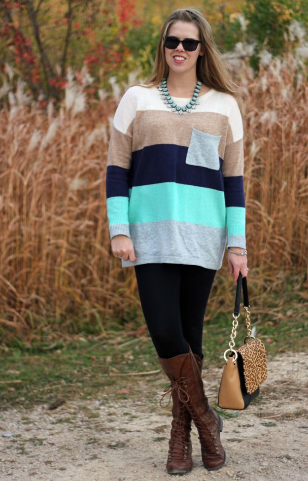 mint-striped-sweater-tunic-black-leggings-brown-lace-up-boots