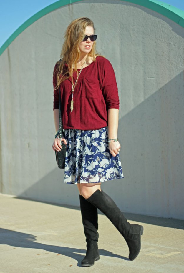 6 skirt outfits for fall: need a bit more leg coverage? Add OTK boots to your fall skirt outfit. | Puppies & Pretties