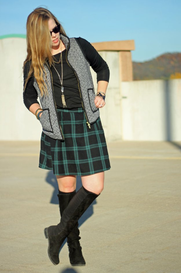 6 skirt outfits for fall: Vests are a great way to add layers without the bulk. Perfect to pair with a skirt! | Puppies & Pretties