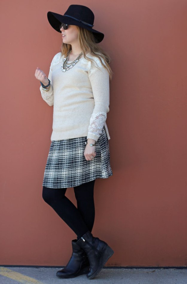 cream-lace-sweater-black-white-tweed-skirt-hat-2
