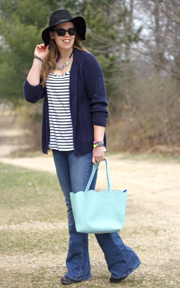 flare-jeans-striped-tank-navy-cardigan-floppy-hat-mint-tote