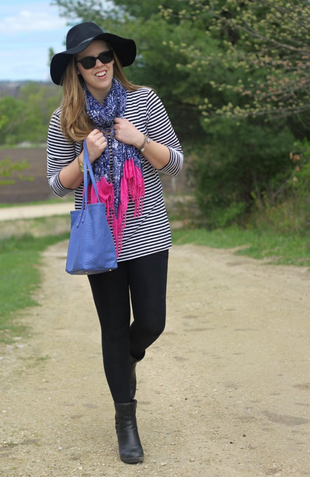 Leggings and a scarf: striped tunic, leggings, booties, floppy hat, Lilly for Target scarf, GiGi New York tote