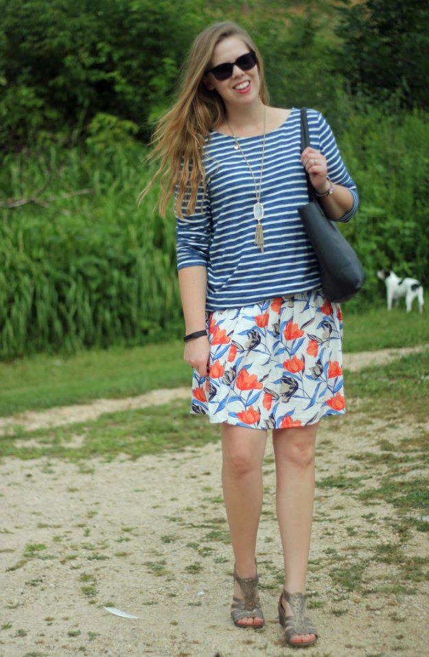 Floral and Stripes: Forever 21 striped top, orange floral Old Navy skirt   Puppies & Pretties