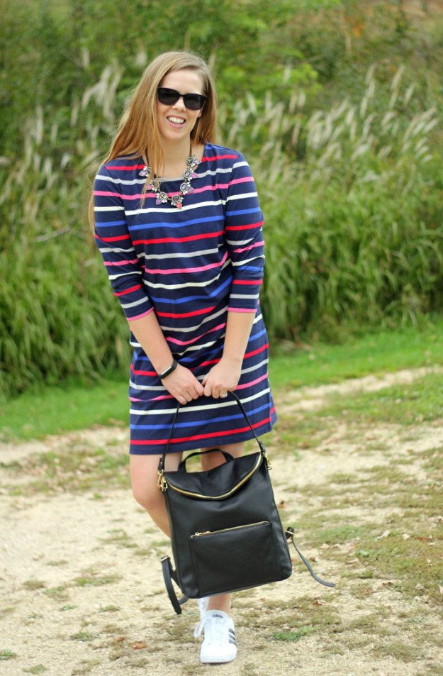 Color on Color: Old Navy striped dress, adidas sneakers, Loren Hope necklace, backpack | Puppies & Pretties