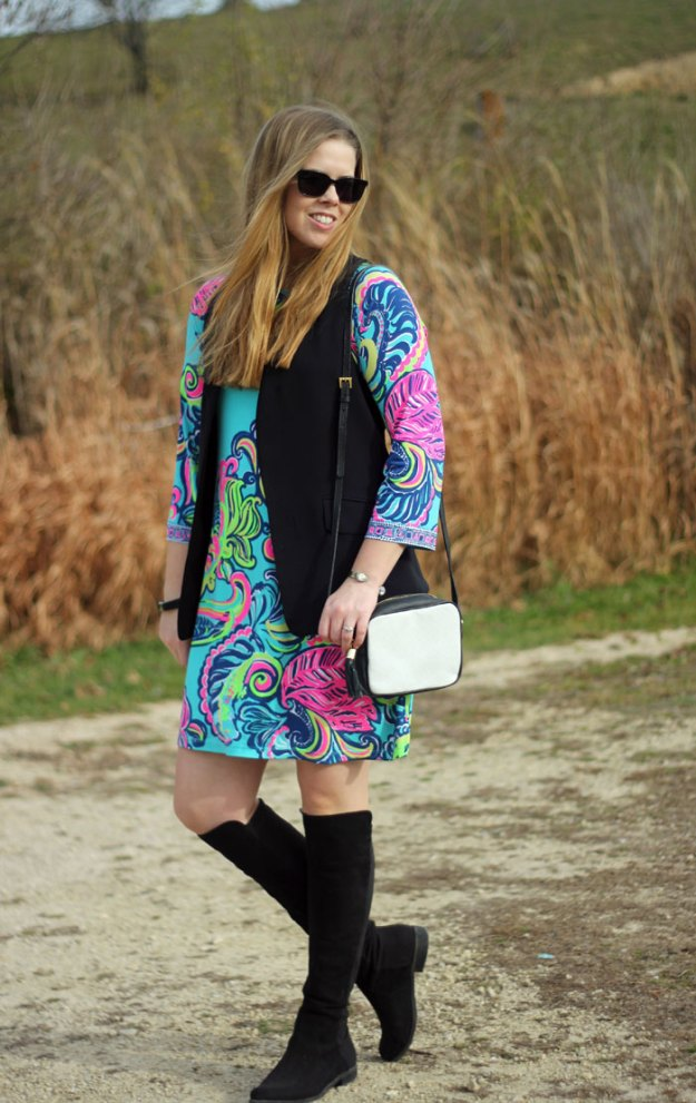 Bright & Cheery: How to wear Lilly Pulitzer Bellavista dress in the fall and winter with a vest and OTK boots | Puppies & Pretties