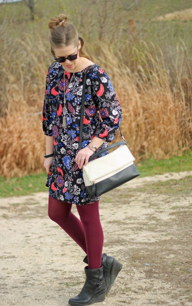 Dark Florals and Bright Tights: Old Navy floral dress, maroon tights, black booties, Kate Spade bag