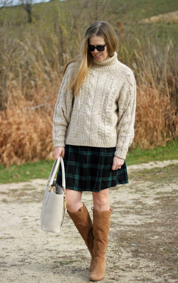 Cozy in Plaid: H&M chunky turtleneck sweater, green plaid skirt, UGG Ava boots, Dagne Dover tote | Puppies & Pretties